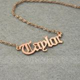 Custom 18k Rose Gold Plated Silver Old English Name Necklace - Birthday Gifts Mother's Day Gifts (288211271)
