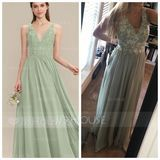 V-neck Floor-Length Chiffon Lace Bridesmaid Dress (266206064)
