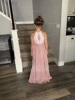 Scoop Neck Floor-Length Chiffon Lace Junior Bridesmaid Dress (268213870)