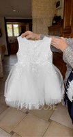 A-Line Knee-length Flower Girl Dress - Satin/Tulle Sleeveless Scoop Neck With Lace (010090655)