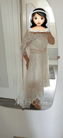 A-Line Off-the-Shoulder Asymmetrical Satin Tulle Lace Wedding Dress With Sequins (002215657)