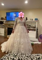 Ball-Gown/Princess V-neck Chapel Train Tulle Wedding Dress (002171944)