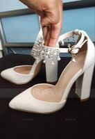 Women's Leatherette Kitten Heel Closed Toe Pumps With Tassel Crystal (047155160)