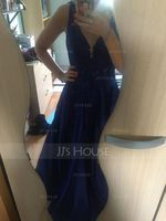 V-neck Floor-Length Satin Prom Dresses With Lace Sequins (272236117)