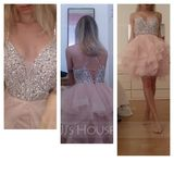Ball-Gown/Princess V-neck Knee-Length Tulle Prom Dresses With Beading Sequins (018230677)