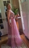 Scoop Neck Floor-Length Tulle Bridesmaid Dress With Ruffle (266215710)