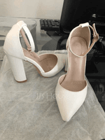 Women's Leatherette Kitten Heel Closed Toe Pumps (047155159)