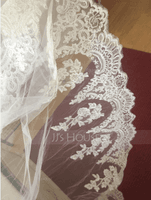 Two-tier Lace Applique Edge Cathedral Bridal Veils With Lace (006150918)