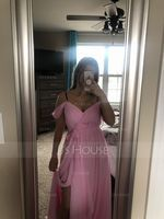 A-Line V-neck Floor-Length Chiffon Prom Dresses With Bow(s) Split Front Cascading Ruffles (272253279)
