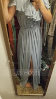 A-Line V-neck Floor-Length Chiffon Bridesmaid Dress With Bow(s) Split Front Cascading Ruffles (266224313)