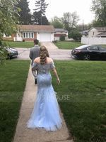 Trumpet/Mermaid Off-the-Shoulder Sweep Train Tulle Prom Dresses (018187202)