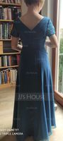 A-Line V-neck Floor-Length Chiffon Mother of the Bride Dress With Lace (008217312)
