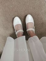 Girl's Closed Toe Leatherette Flat Heel Flower Girl Shoes With Beading Bowknot Velcro (207123044)