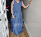 A-Line V-neck Floor-Length Chiffon Junior Bridesmaid Dress With Ruffle (009208588)