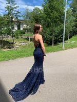 Trumpet/Mermaid V-neck Sweep Train Sequined Prom Dresses (018175953)