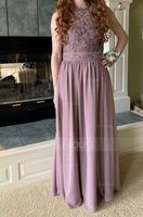 Scoop Neck Floor-Length Chiffon Lace Bridesmaid Dress With Beading Sequins (266195850)