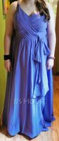 A-Line V-neck Floor-Length Bridesmaid Dress With Ruffle Beading Split Front (266259602)