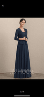 A-Line Square Neckline Floor-Length Chiffon Lace Mother of the Bride Dress With Sequins (008164103)