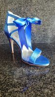 Women's Silk Like Satin Stiletto Heel Peep Toe Pumps Sandals With Bowknot Ribbon Tie Lace-up (047199904)