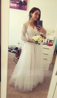 A-Line V-neck Floor-Length Tulle Wedding Dress With Beading (002119789)