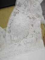 A-Line V-neck Court Train Chiffon Lace Wedding Dress (002234899)