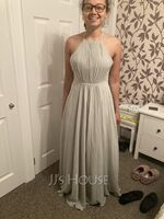 A-Line Scoop Neck Floor-Length Bridesmaid Dress With Ruffle (266257344)