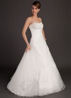 Ball-Gown Sweetheart Floor-Length Satin Organza Wedding Dress With Ruffle Lace Beading (002015485)