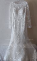 Trumpet/Mermaid Scoop Neck Court Train Tulle Wedding Dress With Beading Sequins Bow(s) (002171949)