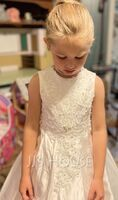 Ball-Gown/Princess Sweep Train Flower Girl Dress - Satin/Lace Short Sleeves Scoop Neck With Beading (010195360)