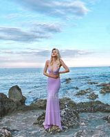 Trumpet/Mermaid V-neck Sweep Train Jersey Prom Dresses With Sequins (018224402)