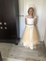 Ball-Gown/Princess Scoop Neck Floor-Length Tulle Junior Bridesmaid Dress (009130494)