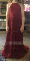 Sweetheart Floor-Length Chiffon Junior Bridesmaid Dress With Ruffle (268224897)
