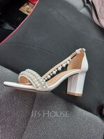 Women's Leatherette Chunky Heel Sandals With Pearl Chain (047261925)