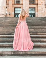 A-Line Off-the-Shoulder Sweep Train Tulle Prom Dresses With Beading Sequins (018187191)