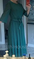 A-Line Scoop Neck Tea-Length Chiffon Cocktail Dress With Ruffle Bow(s) (016255798)