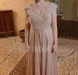 A-Line Off-the-Shoulder Floor-Length Chiffon Bridesmaid Dress With Ruffle Lace (007165855)