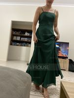 A-Line Square Neckline Floor-Length Chiffon Bridesmaid Dress With Split Front (007221220)