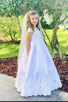 Ball Gown Floor-length Flower Girl Dress - Satin/Tulle/Lace Short Sleeves Scoop Neck With Beading (Petticoat NOT included) (010143260)
