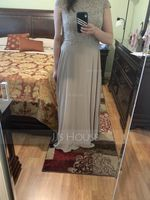Scoop Neck Floor-Length Chiffon Lace Mother of the Bride Dress With Beading (267196668)
