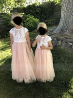 Ball-Gown/Princess Ankle-length Flower Girl Dress - Tulle/Lace Short Sleeves Scoop Neck (010220931)