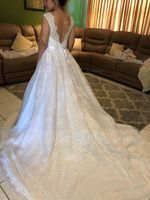 Ball-Gown Scoop Neck Chapel Train Lace Wedding Dress With Ruffle (002134396)