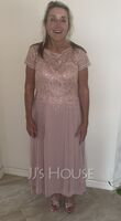 A-Line Scoop Neck Asymmetrical Chiffon Lace Mother of the Bride Dress With Sequins (008252081)