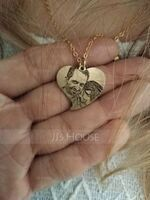 Custom 18k Gold Plated Silver Heart Black And White Photo Engraved Heart Necklace Engraved Necklace Photo Necklace - Birthday Gifts (288239566)