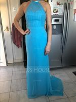 Trumpet/Mermaid Scoop Neck Sweep Train Chiffon Tulle Bridesmaid Dress With Ruffle (266195839)