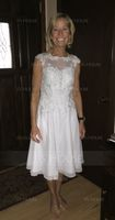 Scoop Neck Knee-Length Chiffon Lace Mother of the Bride Dress (267196534)