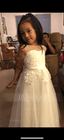 A-Line Floor-length Flower Girl Dress - Tulle/Lace Sleeveless Scoop Neck (010122557)