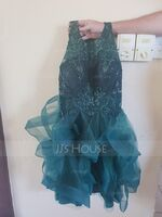 Ball-Gown/Princess Scoop Neck Short/Mini Tulle Homecoming Dress With Sequins (300244019)