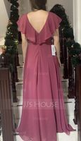 A-Line V-neck Floor-Length Bridesmaid Dress With Split Front (266250875)