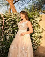 Ball-Gown/Princess Off-the-Shoulder Sweep Train Tulle Wedding Dress With Beading Sequins (002235608)