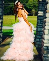 A-Line One-Shoulder Asymmetrical Tulle Prom Dresses With Beading Appliques Lace Sequins Cascading Ruffles (018047386)